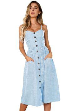 c44a8d76f3e6 Blue White Striped Button Down Mid Calf Dress Μπλε Και Λευκό