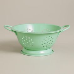 """Mini 6"""" Mint Colander, only $1.99 at World Market!  Darling for a picnic AND craft supply storage!"""
