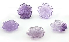 SmartyHands.com: Lavender Amethyst Flower carving 20mm / 1pc