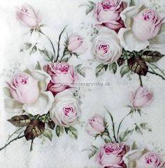 Servítka - Sagen, ruže - Servítky pre dekupáž