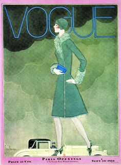VOGUE flapper & automobile cover September 29 1928 artist GEORGES LEPAPE (1887-1971)  from Graphic Arts SCALA 2010