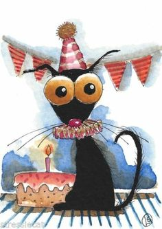 ACEO Original Watercolor Folk Art Stressie Cat Whimsical Birthday Cake Candles…