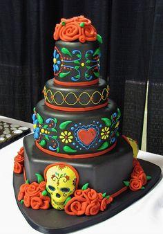 Dia de los Muertos wedding cake, day of the dead