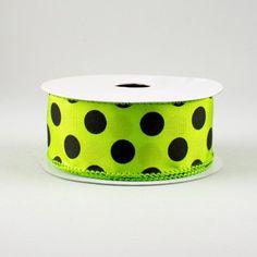 "1.5"" Big Polka Dot Ribbon: Lime Green & Black (10 Yards) Deco Mesh Ribbon, Wired Ribbon, Fabric Ribbon, Wreath Supplies, Craft Supplies, Craft Outlet, Halloween Deco Mesh, Floral Supplies, Green Satin"