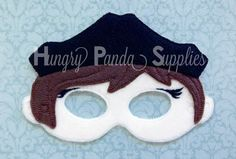 Felt Mask Embroidery Design, Pirate Girl Captain Mask Embroidery Design, in the hoop design