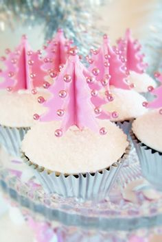 Pastel pink christmas tree cupcakes for 2013 christmas party Christmas Tree Cupcakes, Pink Christmas Tree, Christmas Sweets, Christmas Goodies, Christmas Baking, Xmas Tree, Holiday Cupcakes, Reindeer Christmas, Christmas Decor