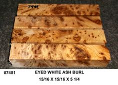 7481 Eyed White Ash Burl 4 Pack Jumbo Pen Blanks Knife Scales Wooden Jewelry Blanks Burl Inlay Wood Miniature Turning Blank Craft Wood