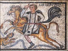 Mosaic panel showing the hero Meleager about to spear a leopard, from a villa in Halicarnassus #BritishMuseum #Roman