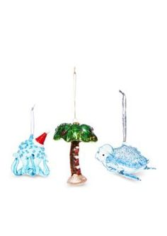 Home Accents Santa Claws Santa Octopus Ornament, Set Of 3 - Blue Wave - One Size