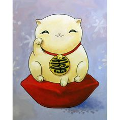 Handmade Gifts | Independent Design | Vintage Goods Maneki Neko (Lucky Cat) Print - Fine Art