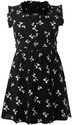 Koko Black Bow Print Pleat Front Tunic