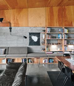 Norman Millar and Judith Sheine designed the built-ins in the living-dining area, which were made from vertical-grain Douglas fir.
