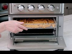 The Cuisinart® AirFryer Toaster Oven is a unique workhorse that bakes, broils, toasts and airfries right inside the oven. It's a healthier way to prepare delicious fried favorites. Hot Butter, Oven Racks, Grill Rack, Air Frying, Cooking Utensils, Cooking Tools, Eating Raw, Small Appliances, Air Fryer Recipes