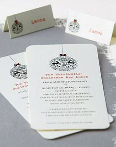 Beautiful Day Personalised Christmas Menu and Place Cards