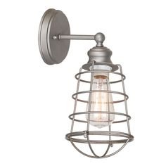 "$44 The Bathroom Wall Sconce 13.38'' H x 8'' W x 6.36'' D features a modern design and a galvanized steel finish with a wire shade. This sconce can be used for bathroom, hallway or foyer lighting. The wall sconce offers reliable lighting with an industrial design. This model uses (1) 60 Watt medium base incandescent bulb (A19 Bulb type). Wall sconce is designed for wall mount applications. Metal cage measures 8.23"" x 6.76. This unit is ETL/cETL Listed and suitable for indoor use. The B"