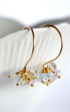Gemstone cluster earrings gold pastel stone