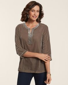 Chico's Velvet Dreams Monica Top #chicos  LOVE .... neckline/collar/soft material and combo of the 2 materials