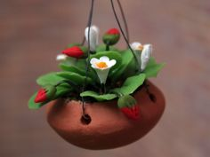 Dolls House strawberries in a hanging basket from The Wonham Collection. FL74.