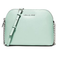 Simply chic, this Michael Michael Kors crossbody showcases a chain-detail strap for an effortless glam everyday look. Green Shoulder Bags, Chain Shoulder Bag, Crossbody Shoulder Bag, Shoulder Handbags, Handbags Michael Kors, Purses And Handbags, Michael Kors Bag, Michael Kors Purse Crossbody, Mk Purse