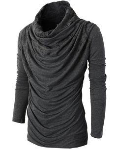 de0eaacd45c Amazon.com  H2H Mens Unique Slim fit Fashionable Designed Shirring Long  Sleeve T-shirts CHARCOALWHITE US XL Asia XXL (KMTTL0252)  Clothing