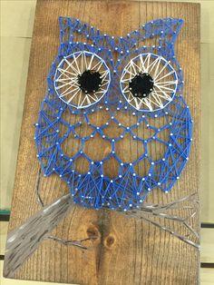 blue owl on branch custom string art