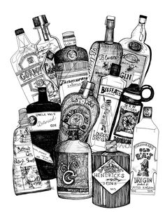 """""""Gin"""" is the last booze drawing for the time being… Please like my Facebook page for Coupons to use on prints, cards and originals on my etsy site! Thank you!"""