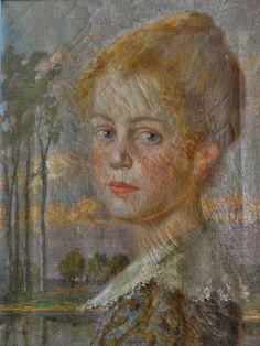 Willy STUCKE, Bonn - Gemälde 1913: Portrait: MÄDCHEN / JUNGE FRAU VOR EINEM SEE