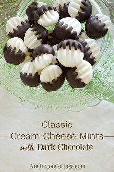 Make easy cream cheese mints even better with dark chocolate!