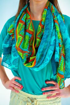 - Who says scarves aren't for spring? With this boldly and richly colored teal scarf you can make a casual and relaxed statement. Lightweight and comfortable it is perfect for pairing with a tank or tee this spring.  - available online at http://www.envyboutique.us/shop/6769/ #Envy #Boutique #chic #fashion #fashiontrends #PrintedScarf, #SummerScarf