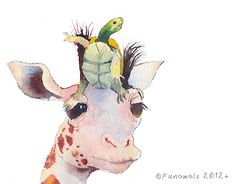 Turtle and Giraffe Meet Adventure....click to view blog post. #watercolor #illustration