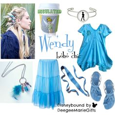 Wendy, Boho Chic - Peter Pan by deegeemariegifts on Polyvore featuring Arthur Arbesser, Stuart Weitzman, Ada and Disney