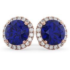 Allurez Halo Round Blue Sapphire & Diamond Earrings 14k Rose Gold... ($8,905) ❤ liked on Polyvore featuring jewelry, earrings, diamond earrings, rose gold diamond earrings, 14k earrings, round earrings and diamond jewelry