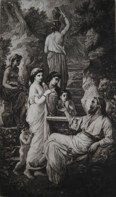 Anselm Feuerbach Hafis am Brunnen Radierung 1881 auf Bütten von W. Krauskopf