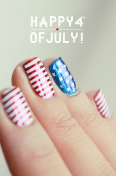 4th  July Nails    Pinned on behalf of Pink Pad, the women's health mobile app with the built-in community