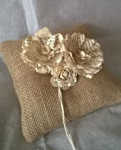 Book Page Rose   Burlap Ring Bearer Pillow  Book by SSOWEDDINGSHOP
