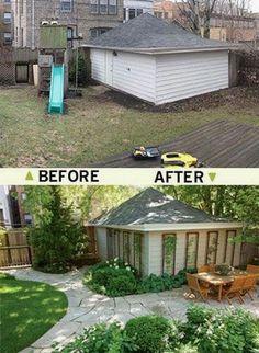 Budget Patio, Diy Patio, Small Backyard Landscaping, Small Patio, Florida Landscaping, Patio Design, Garden Design, Reforma Exterior, Shed Landscaping