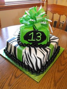 Green neon & Zebra Print By antasia on CakeCentral.com