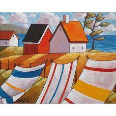 PAINTING ORIGINAL Acrylic Folk Art Landscape, Blue Ocean Coast Cottages, Laundry Breeze Seascape, Colorful Modern Fine Artwork Horvath 11x14