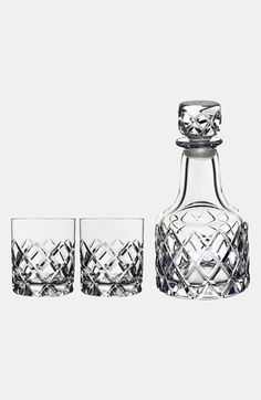 Orrefors 'Sofiero' Whiskey Decanter Set available at Nordstrom Crystal Glassware, Crystal Decanter, Home Goods Furniture, Luxury Bar, Whiskey Decanter, Bar Accessories, Vintage Glassware, Colored Glass, Glass Bottles