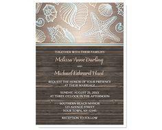 Beach Wedding Invitations Rustic Wood by ArtisticallyInvited