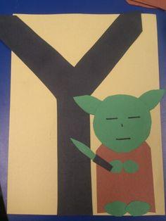 Y is for Yoda.  Preschool letter craft by Holly Thorpe.