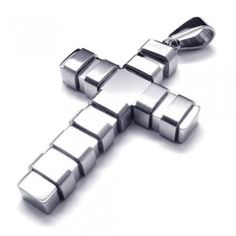 Men's Silver Pure Titanium Cross Pendant Necklace (New) 17698