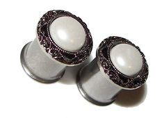 """Pretty Pearl Plugs - 1 Pair - Sizes 2g, 0g, 00g, 7/16"""" & 1/2"""". $20.00, via Etsy."""
