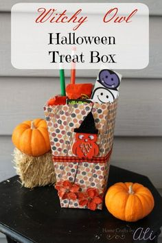 Witchy Owl Halloween Treat Box. Decorate a popcorn box to make this Halloween treat box perfect for class parties, neighbor gifts, or youth groups. Don't forget to enter the giveaway! Halloween Treat Boxes, Holidays Halloween, Halloween Kids, Halloween Treats, Halloween Decorations, Halloween Parties, Bee Crafts, Easy Crafts, Paper Crafts