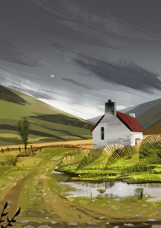 House in the field with grey sky illystration landscape painting Environment Painting, Environment Concept Art, Environment Design, Landscape Concept, Landscape Artwork, Fantasy Landscape, Environmental Art, Surreal Art, Aesthetic Art