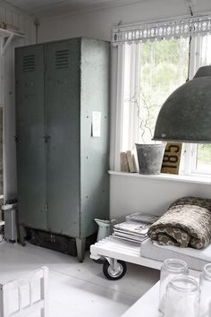 locker storage (great for cleaning supplies)