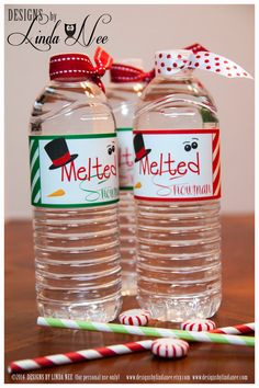 Melted Snowman Water Bottle Wrappers! Go custom and be the hostess with the mostest!  These wrappers are a fun and inexpensive treat for your childs class, neighbors, friends or family! They also make great party favors! ____________  Please see my additional printables including gift tags, Hershey Bar wrappers, mini candy bar wrappers, cupcake toppers and more for a complete PARTY PACKAGE!   DIRECTIONS: (1) Print the wrappers on cardstock or a thicker paper (I prefer photo paper or matte…