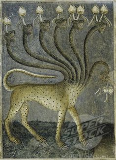 Cycle de l'Apocalypse (fresque), Giusto de' Menabuoi The beast comes out of the sea from Apocalypse: descent of the Holy Ghost by Giusto di Giovanni Menabuoi, fresco Medieval Manuscript, Medieval Art, Illuminated Manuscript, Fresco, Apocalypse, Medieval Paintings, Motifs Animal, Book Of Hours, Dark Ages