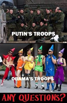 The weird weird world of Tea Party (Confederate Party) 'patriots' in which American soldiers who happen to be gay are the subject of ridicule but Russian soldiers (as likely to be our enemies in a military conflict as Iranian soldiers) are somehow the new standard of awesome.