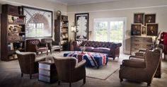 Chesterfield brown leather sofa and high back wing chairs